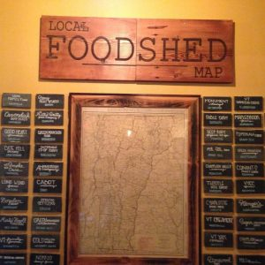 The Local Foodshed Map in Skinny Pancakes restaurant, Burlington, Vermont.